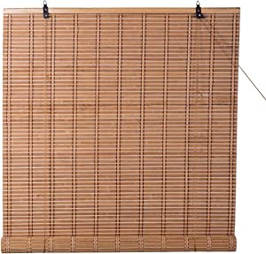 TJ Global Bamboo Roll Up Window Blind Sun Shade, Light Filtering Roller Shades (36
