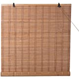 """TJ Global Bamboo Roll Up Window Blind Sun Shade, Light Filtering Roller Shades (30"""" x 72"""")"""