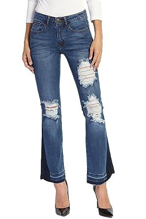 af00bcb1540 TheMogan Women's Vintage Cutoff Disressed Mid Rise Crop Flare Jeans Medium 1