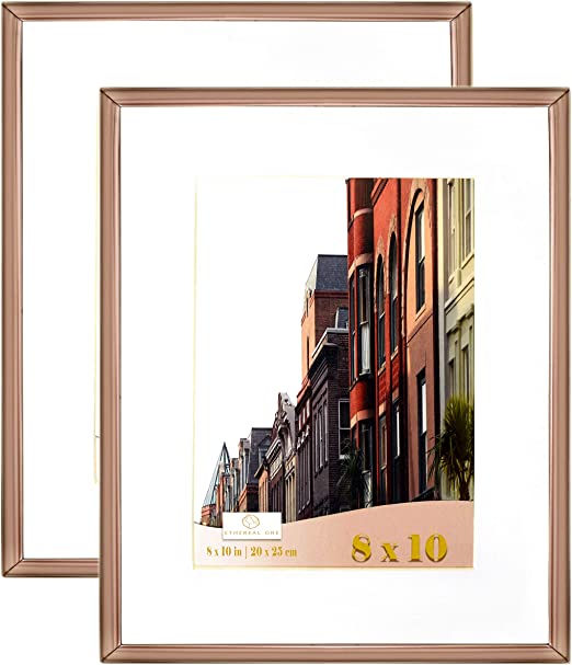 Rose Gold Blush Glass Picture Photo Frame For 5x7