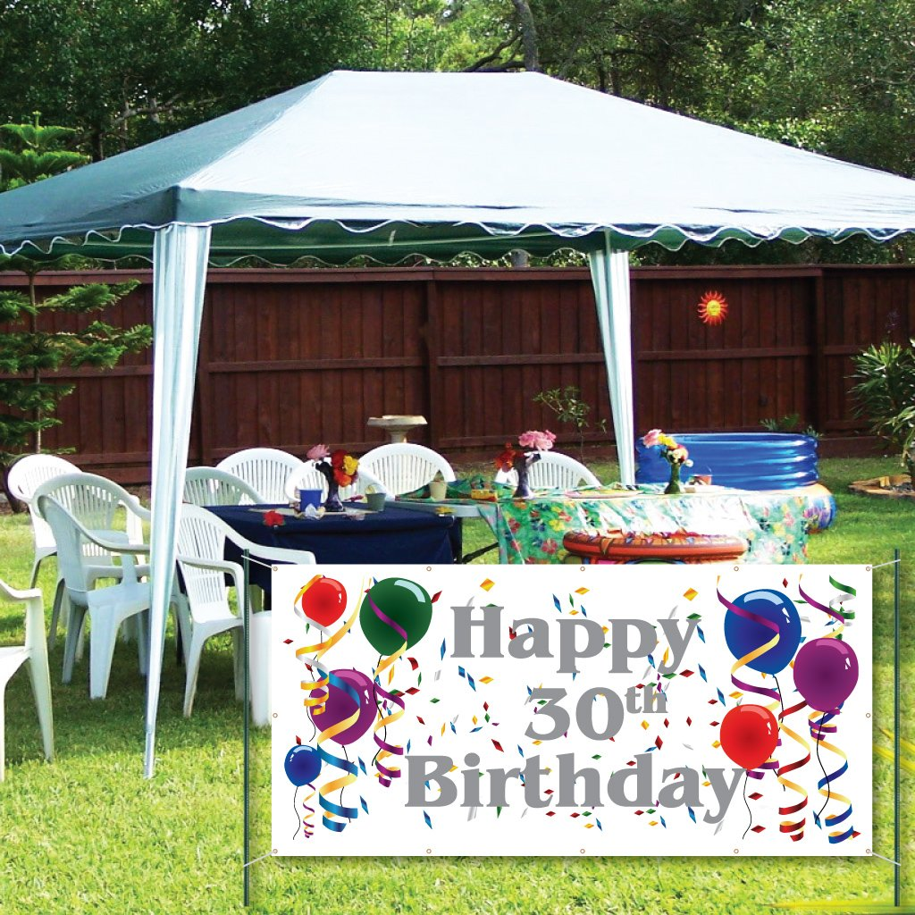 Amazon VictoryStore Yard Sign Outdoor Lawn Decorations Happy 30th Birthday 2X4 Vinyl Banner Business And Store Signs Office Products