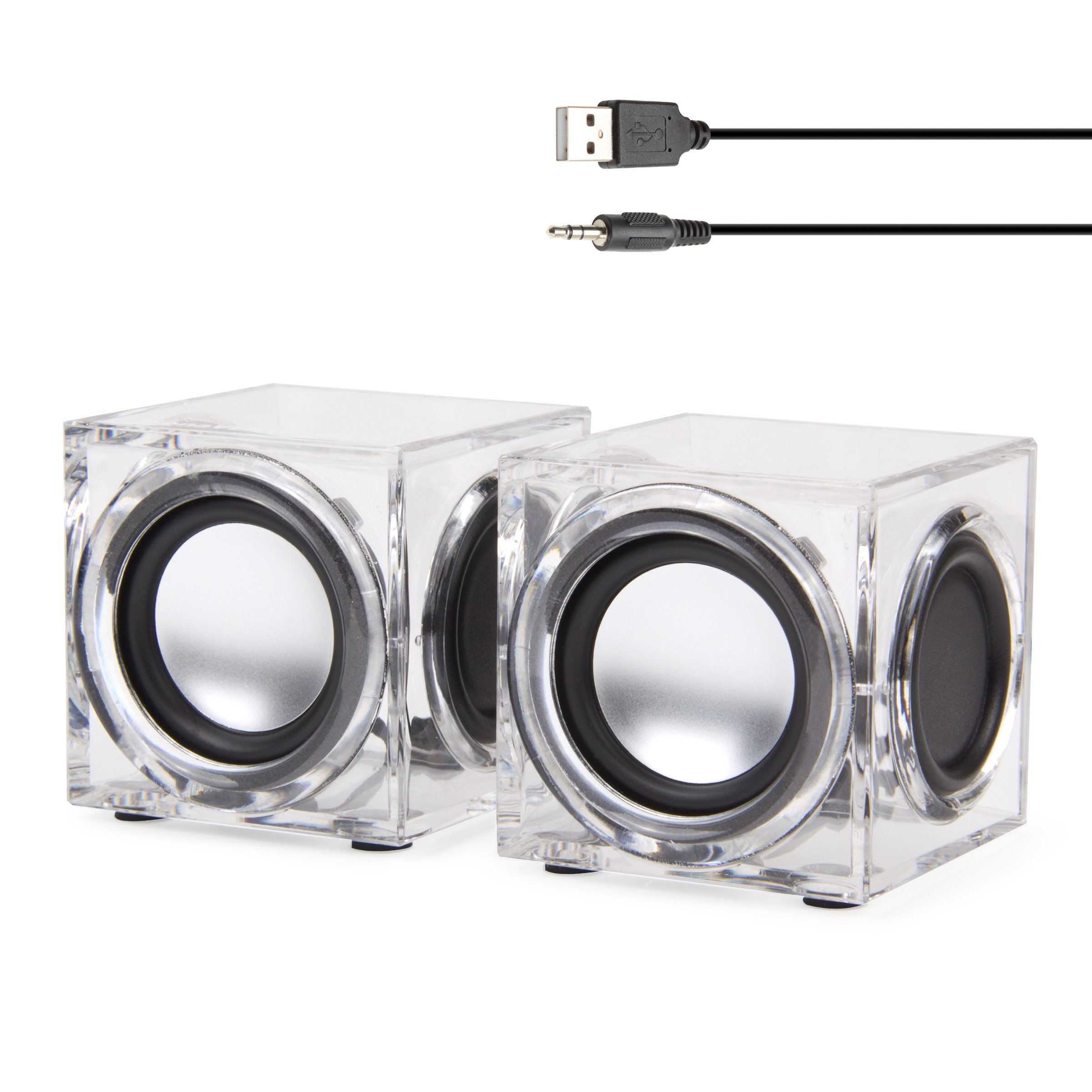 GOgroove Clear Cube USB Powered Wired PC Speakers SonaVERSE CRS 2.0 Stereo AUX 3.5mm Input w/Dual Passive Woofers, 6W Output - Mini Ice Block Acrylic Design for Laptops, Office, Industrial Décor