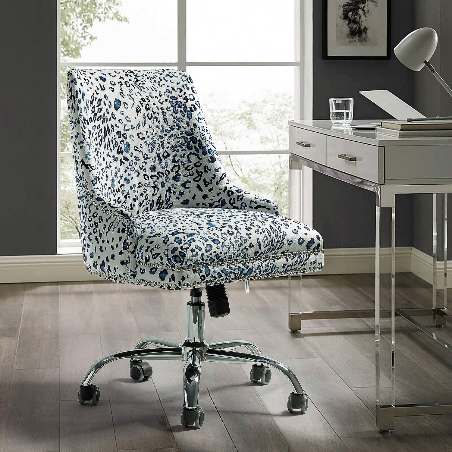 Amazon Com Alida Fabric Office Chair With Silver Nailhead Trim Blue Leopard Kitchen Dining