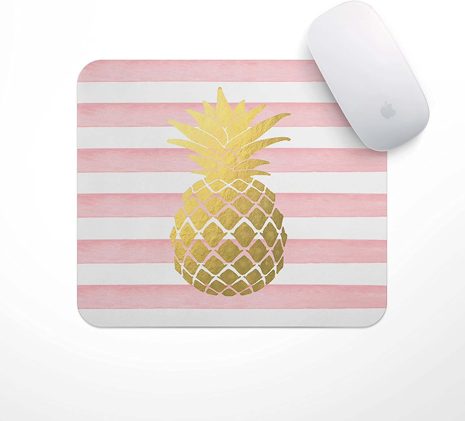 Pineapple Mousepad | Light Pink Stripe Gold Pineapple - Carnation Gold Pineapple Mouse Pad, Glitz Mouse Pad Pink and White Stripes Watercolor Mouse Pad Personalized Mouse Pad