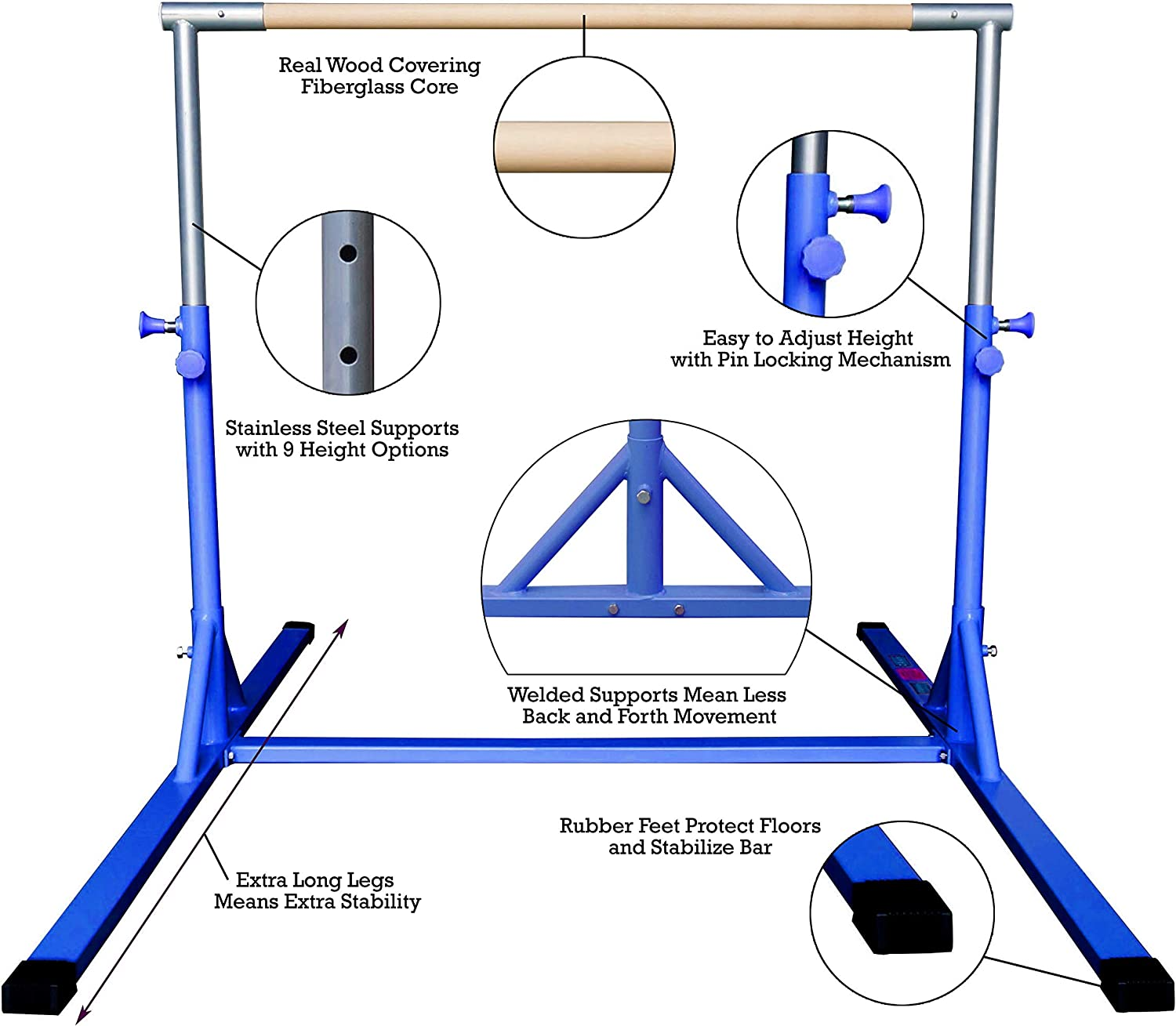 Gym Mat Z-Athletic Elite Gymnastics Bar and Attachable Beam in Multiple Sizes and Colors