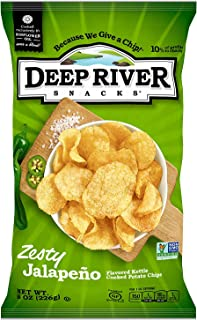 product image for Deep River Snacks Zesty Jalapeno Kettle Cooked Potato Chips, Non GMO, 8 Ounce (Pack of 12)
