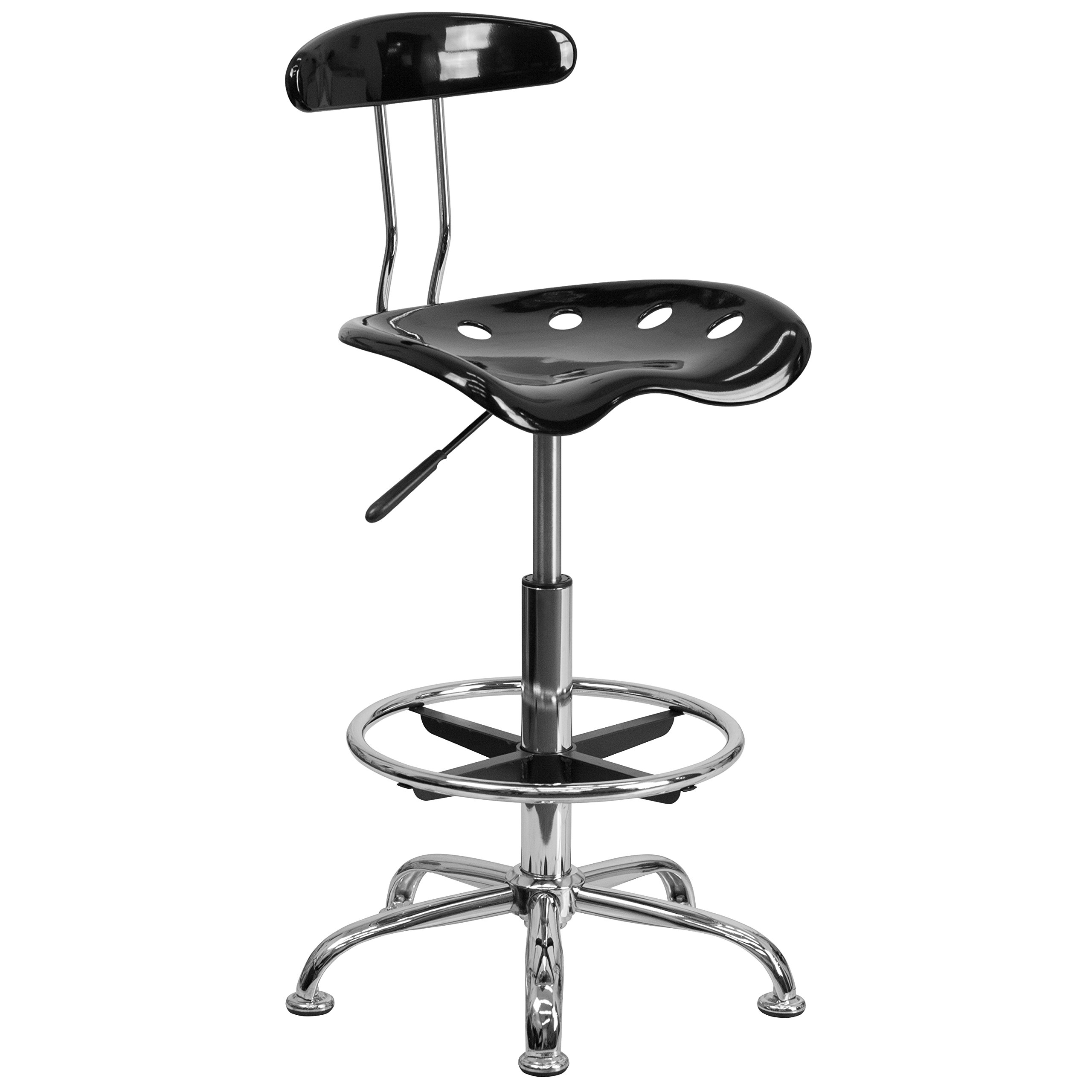 Flash Furniture Vibrant Black and Chrome Drafting Stool with Tractor Seat by Flash Furniture