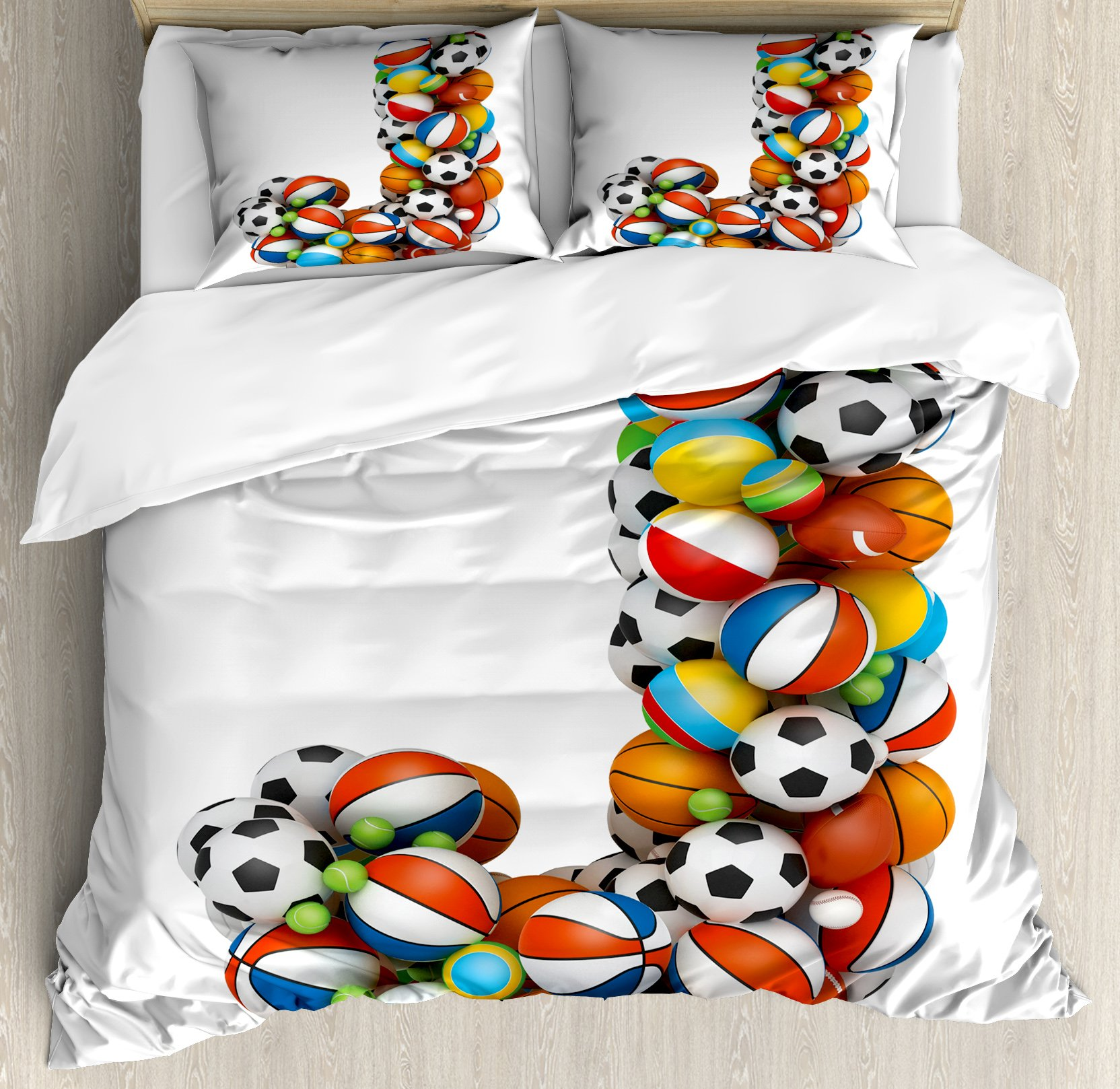 Letter J Duvet Cover Set Queen Size by Ambesonne, Letter J Capitalized Sporting Goods Basketball Football Pigskin Fun Games Design, Decorative 3 Piece Bedding Set with 2 Pillow Shams, Multicolor