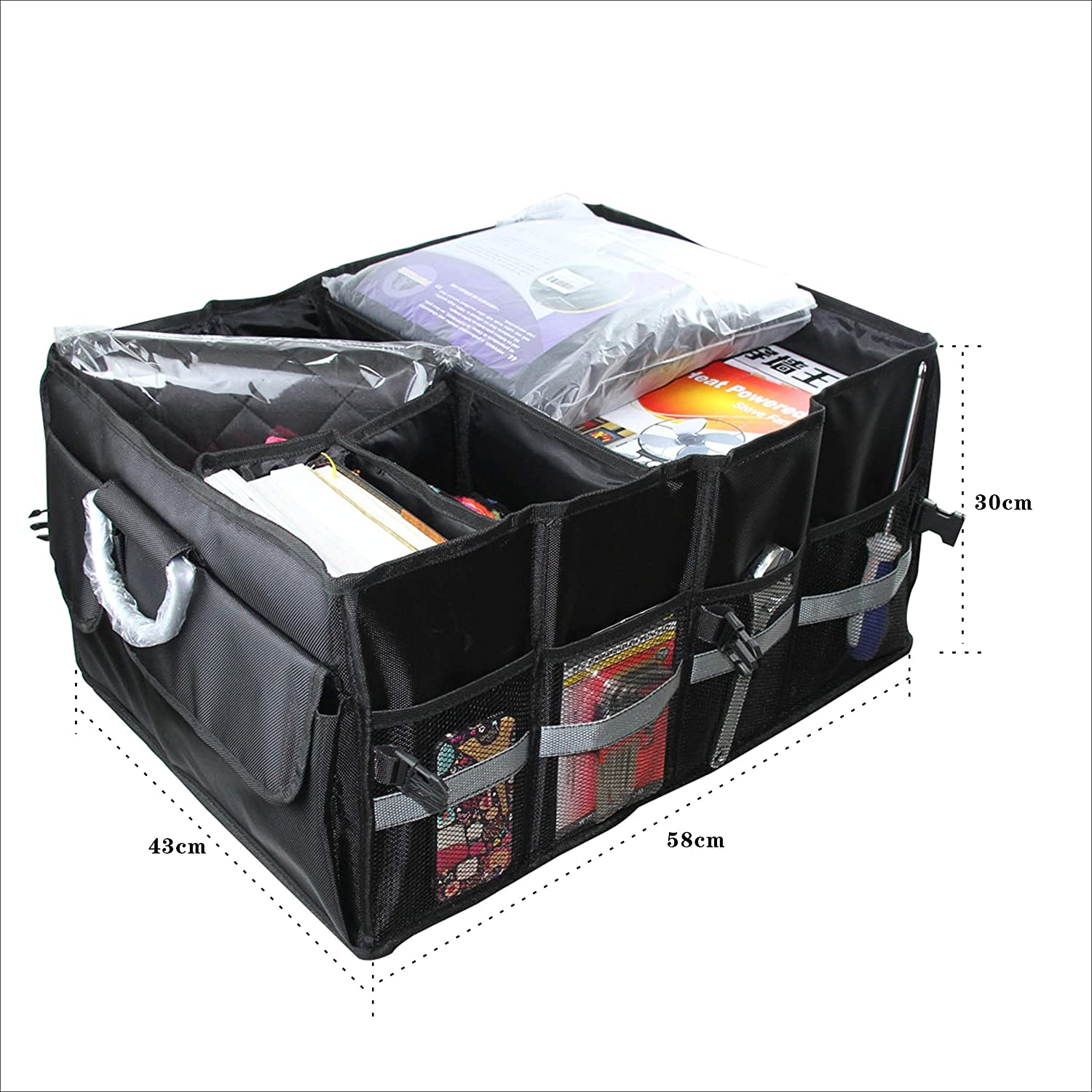 Customizable Multi Compartments Large Waterproof Trucks SUVs Anti Abrasion HD Material Excellent Space Saver Collapsible Portable Trunk Organizer w//Lid Pick-ups and Everyday Vehicles