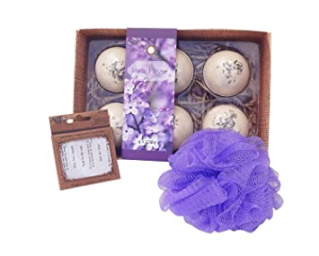 Amazon Best Purple Bath Bomb Fizzy Beauty Body Spa Set Unique Last Minute Birthday Present Idea Girlfriend BFF Mom Grandma