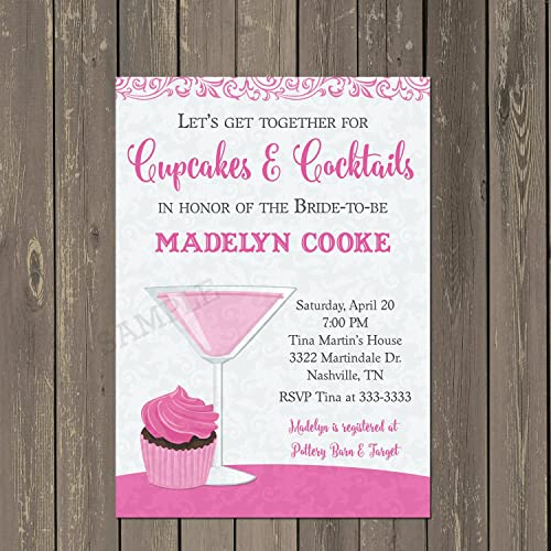 cupcakes and cocktails invitation cupcakes and cocktails bridal shower invite bachelorette party invitation