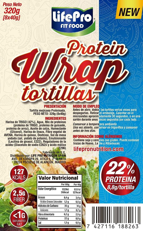 Life Pro Fit Food Protein Wrap Tortillas Proteicas 8x40g | 8,8g de proteína por cada tortilla | Tortilla mejicana con un alto contenido de proteínas | ...