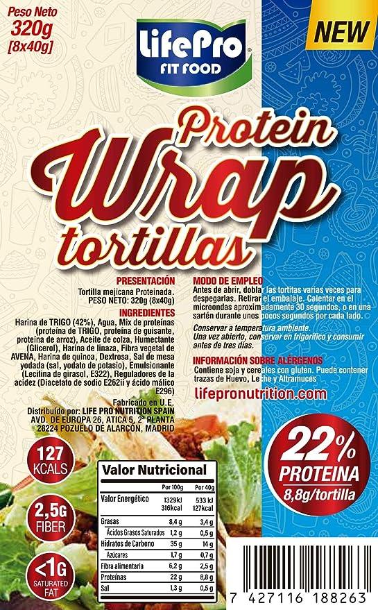 Life Pro Fit Food Protein Wrap Tortillas Proteicas 8x40g | 8,8g de proteína por cada tortilla | Tortilla mejicana con un alto contenido de proteínas | Cuida tu cuerpo con nuestros Wraps