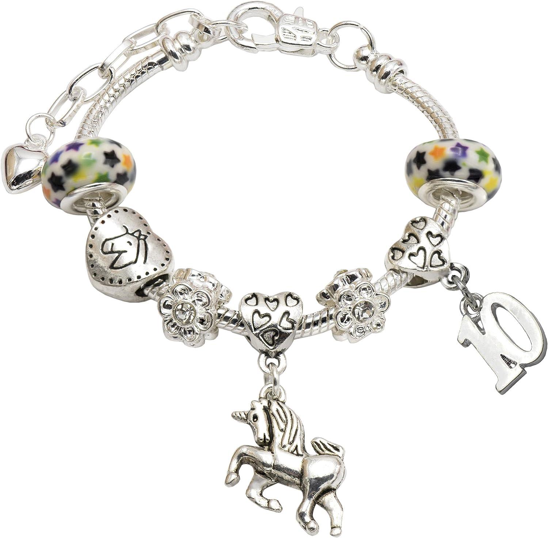 Brazalete con figuras de unicornio, para cumpleaños, bañado en plata, para niñas de1 a 11 años, con caja de regalo