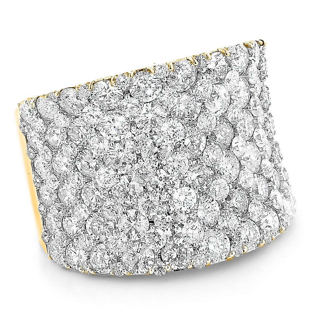 14K Gold Unique Diamond Wedding Bands Ladies Pave Diamonds Ring 8ctw G-H color (Yellow Gold, Size 4.5)