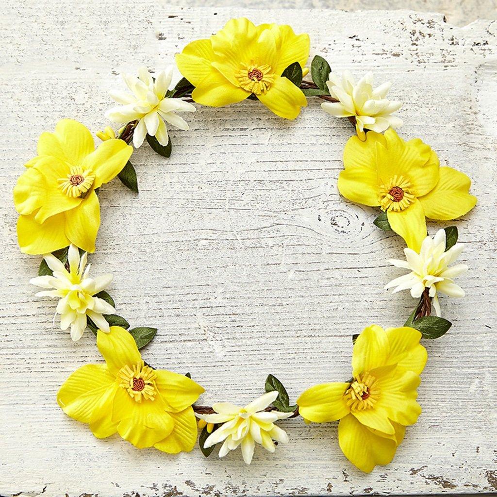 Wreath Flower, Headband Flower Garland Handmade Wedding Bride Party Ribbon Headband Wristband Hairband-Yellow (Color : Yellow)