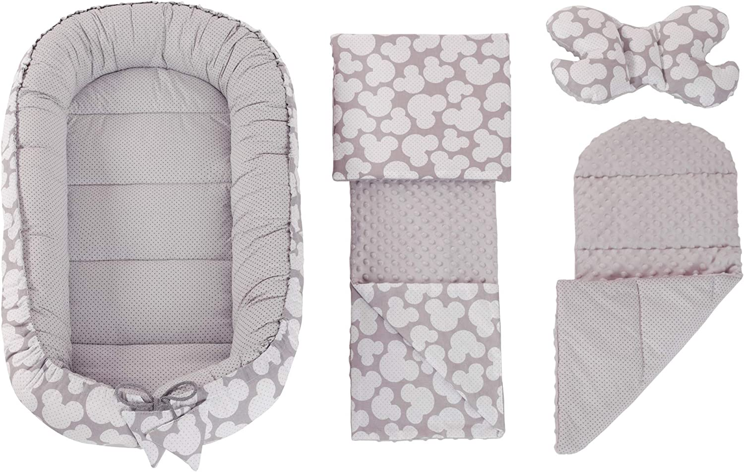 100/% Cotton 5-Piece Medi Partners Cuddly Nest Set with Baby Nest 90 x 50 cm Butterfly Pillow For Babies Removable Insert Flat Cushion Play Rug