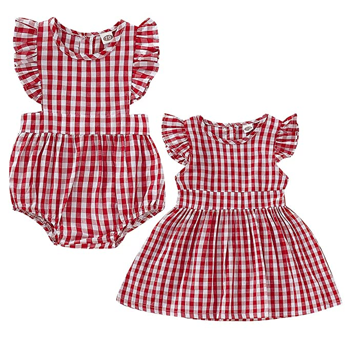 Sisters Red Skirt Onesie for Infant Haokaini Baby Girls Twins Family Matching Plaid Ruffle Dress Romper