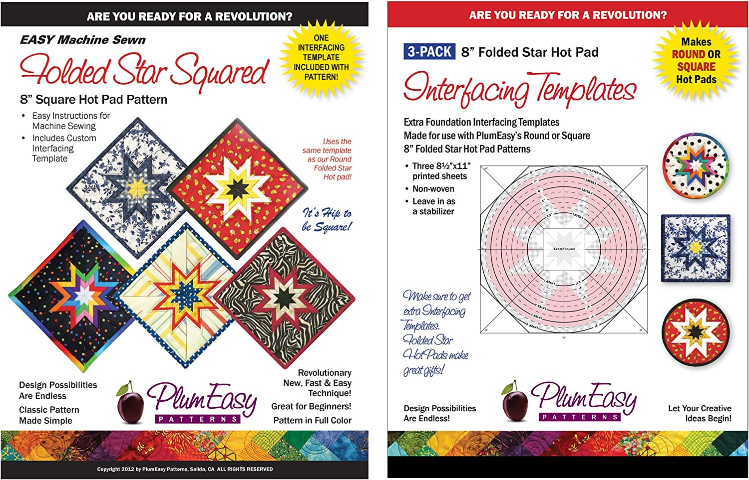 Folded Star 8-inch Hot Pad Interfacing Templates 12-pack 12 Custom-printed 8.5 X 11 Interfacing Templates Made for Use with Plumeasys Round or Square Folded Star Patterns by PlumEasy Patterns