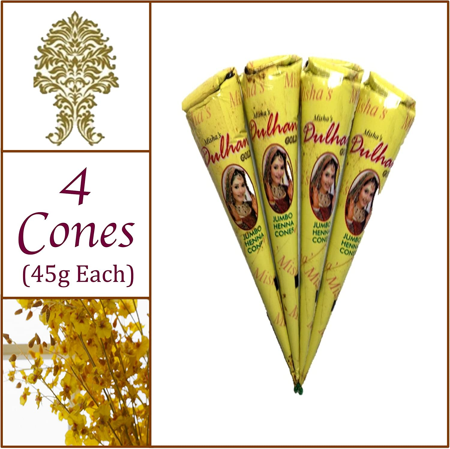 4 Jumbo Cones. Dulhan Gold Henna Paste. No Chemicals No PPD. 45g Ea. Misha