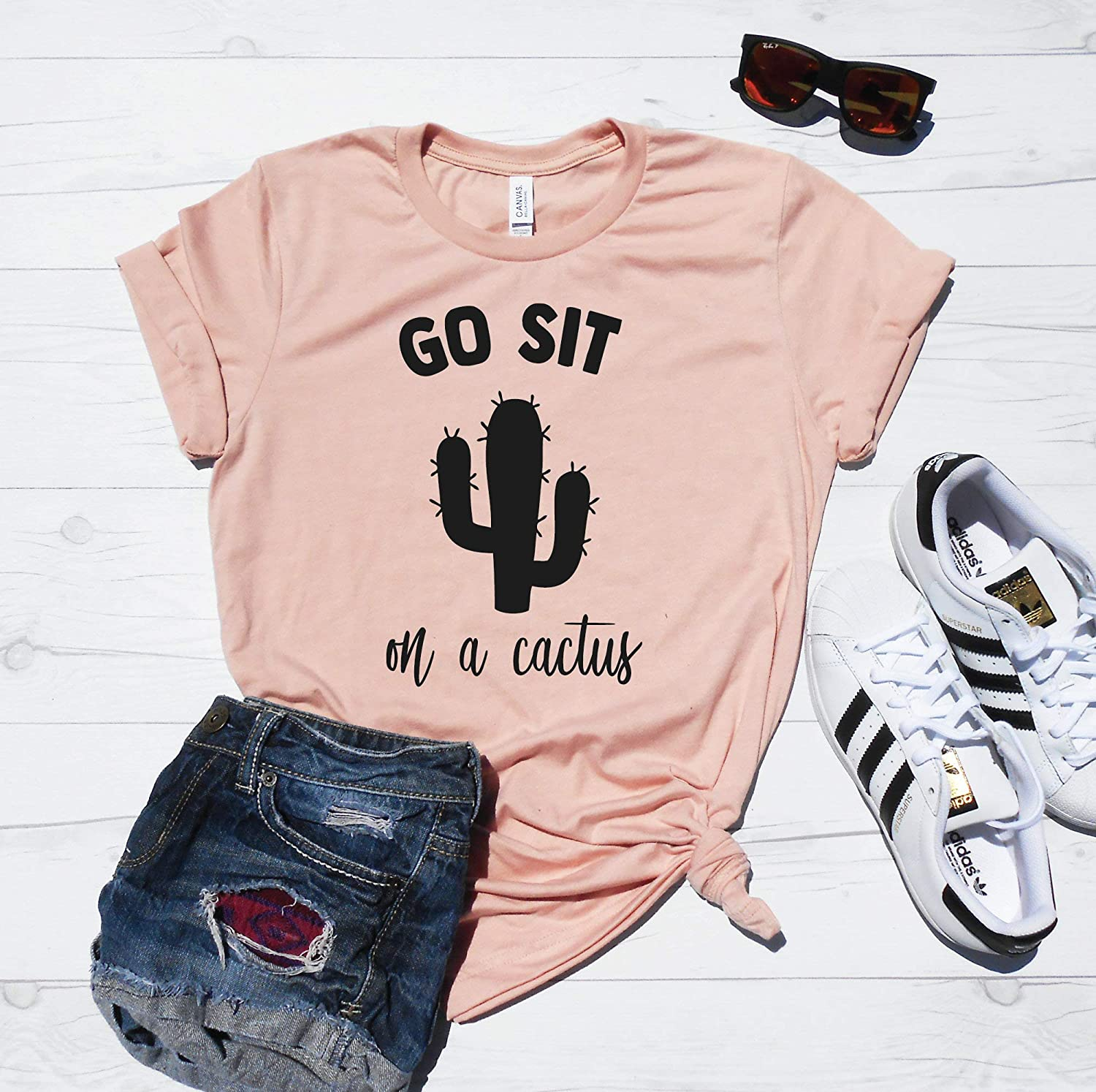 6ce2c9c5 Go Sit On A Cactus Shirt by Strong Girl Clothing. Super soft, unisex fit t- shirt. Super cute worn with sleeves rolled up, and a side/front knot!