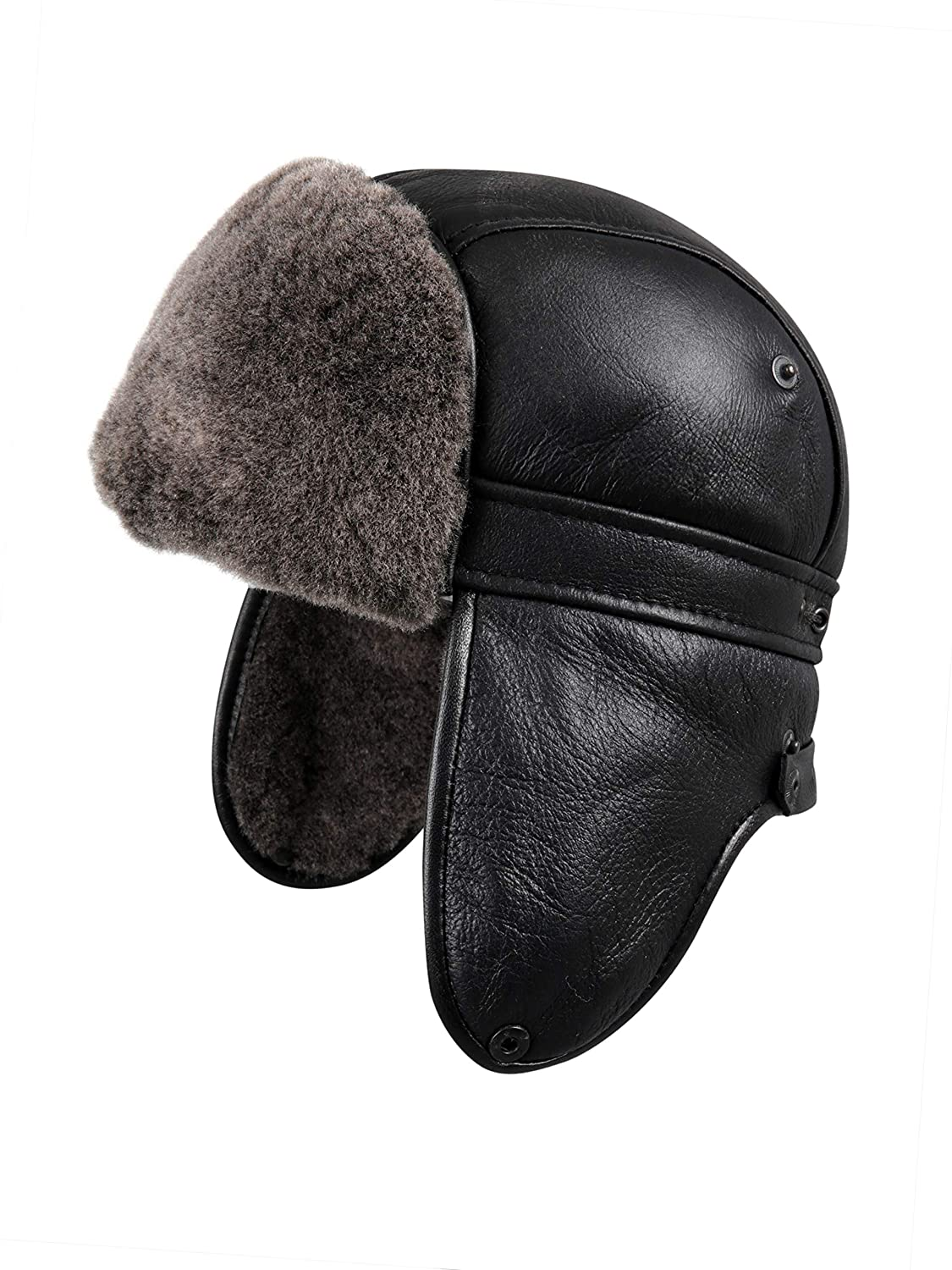 211cd85cfda Zavelio Mens Shearling Sheepskin Aviator Russian Ushanka with Snap Hat  CIT-03