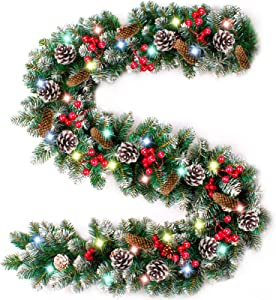9 Foot Prelit Christmas Garland Color Lights Frosted Xmas Garland Battery Operated,90 Red Berry,18 Pine Cone,Snowy Bristle Pine Artificial Garland Wreath Decoration Indoor Home Fireplace Holiday