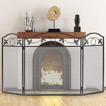 Amazon Com Costzon Fireplace Fence 3 Panel Foldable Steel