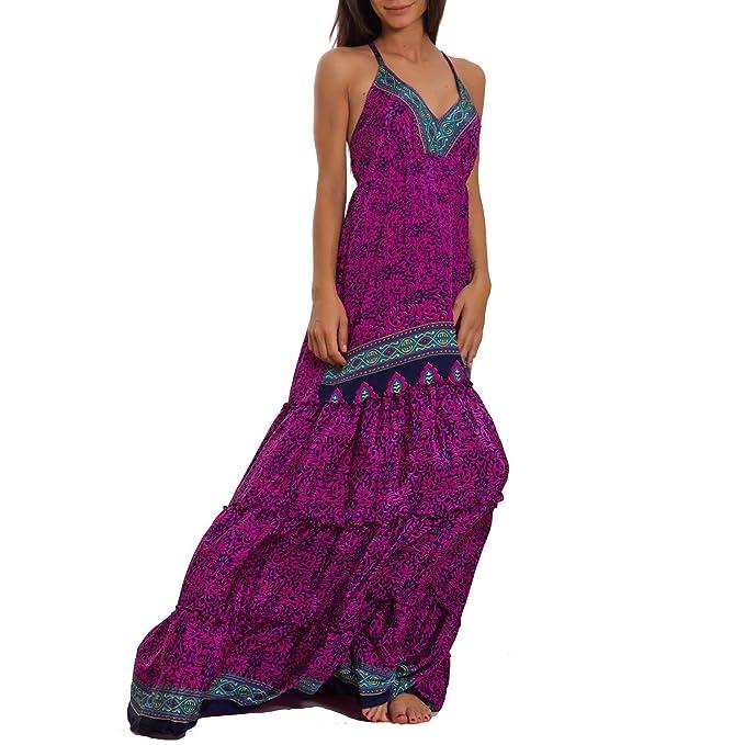 d80d75a0066c Toocool Vestito lungo donna etnico Ibiza spiaggia boho chic gipsy seta  elegante IND-402  Taglia unica
