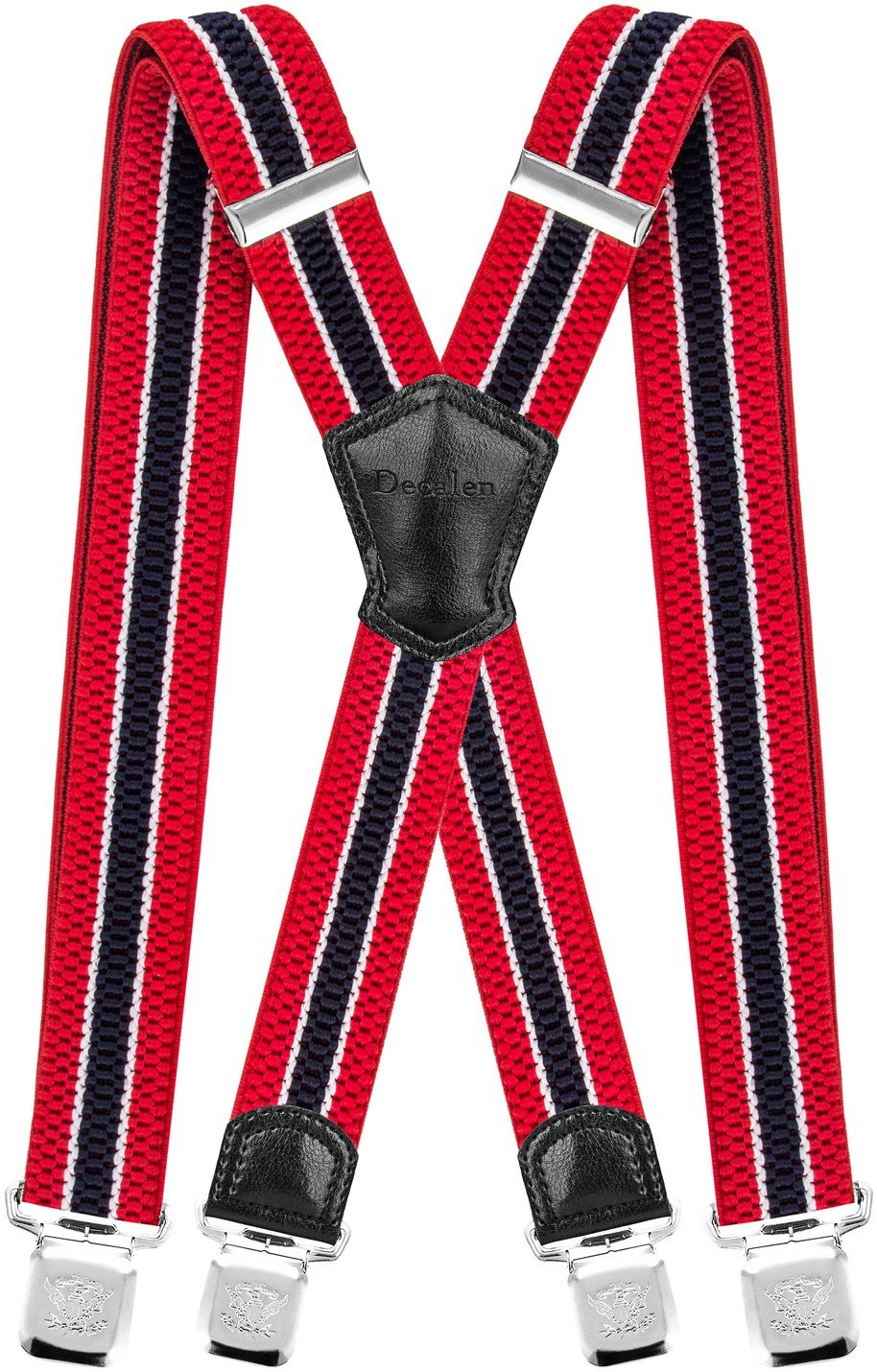 Decalen Mens Suspenders Very Strong Clips Heavy Duty Braces Big and Tall X Style (Red White Navy Blue)