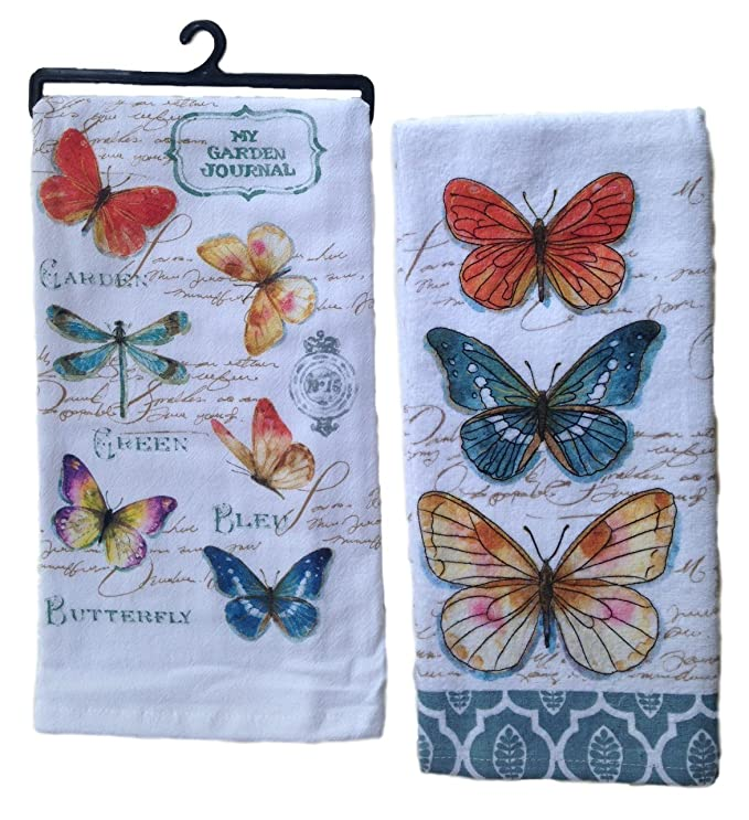 9c65a8c8190a4 Amazon.com  Kay Dee Kitchen Towel Set - A Butterfly Lovers Terry Towel    Flour Sack Towel  Home   Kitchen