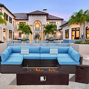 HOMPUS 8-Piece Outdoor Patio Furniture Set, All-Weather Wicker Sectional Sofa, Royal Blue Cushions w 56 x 28-inch Rectangle Bronze Concrete Fire Table (50,000 BTU), Tank Cover, Glass Wind Guard