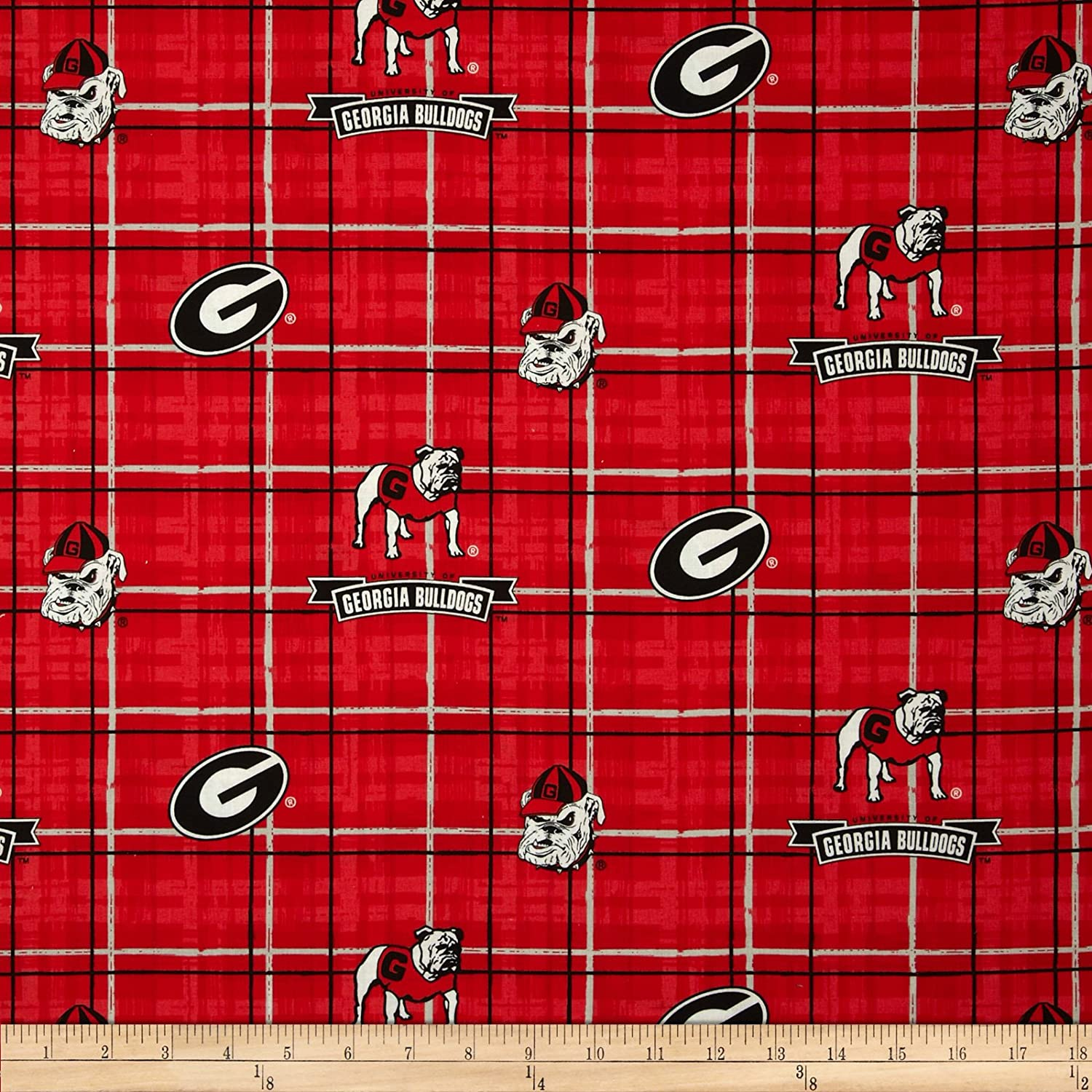 Collegiate Cotton Broadcloth University of Georgia Plaid Red Fabric By The Yard by Sykel Enterprises   B0063KKM0Y