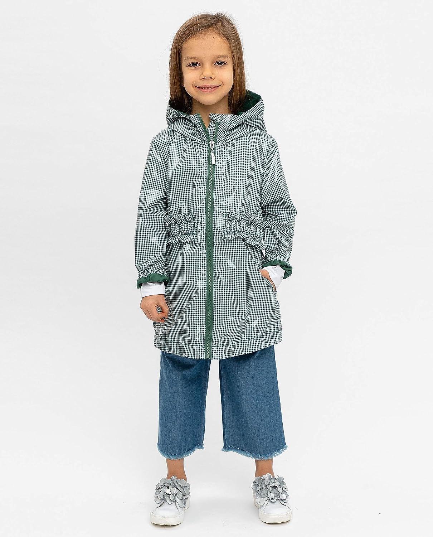 GULLIVER Kinder Regenjacke M/ädchen Regenmantel Knielang Gr/ün mit Kapuze Tailliert 3-8 Jahre