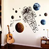 Astronaut Wall Stickers Planet Space DIY Vinyl Removable Large Wall Decals Art Decorations Decor for Kids Boys Bedroom Living