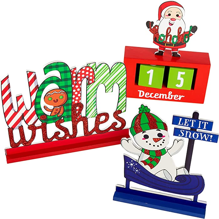 JOYIN 3 Packs Wooden Christmas Tabletop Centerpiece Decor for Office and Home Christmas Decorations