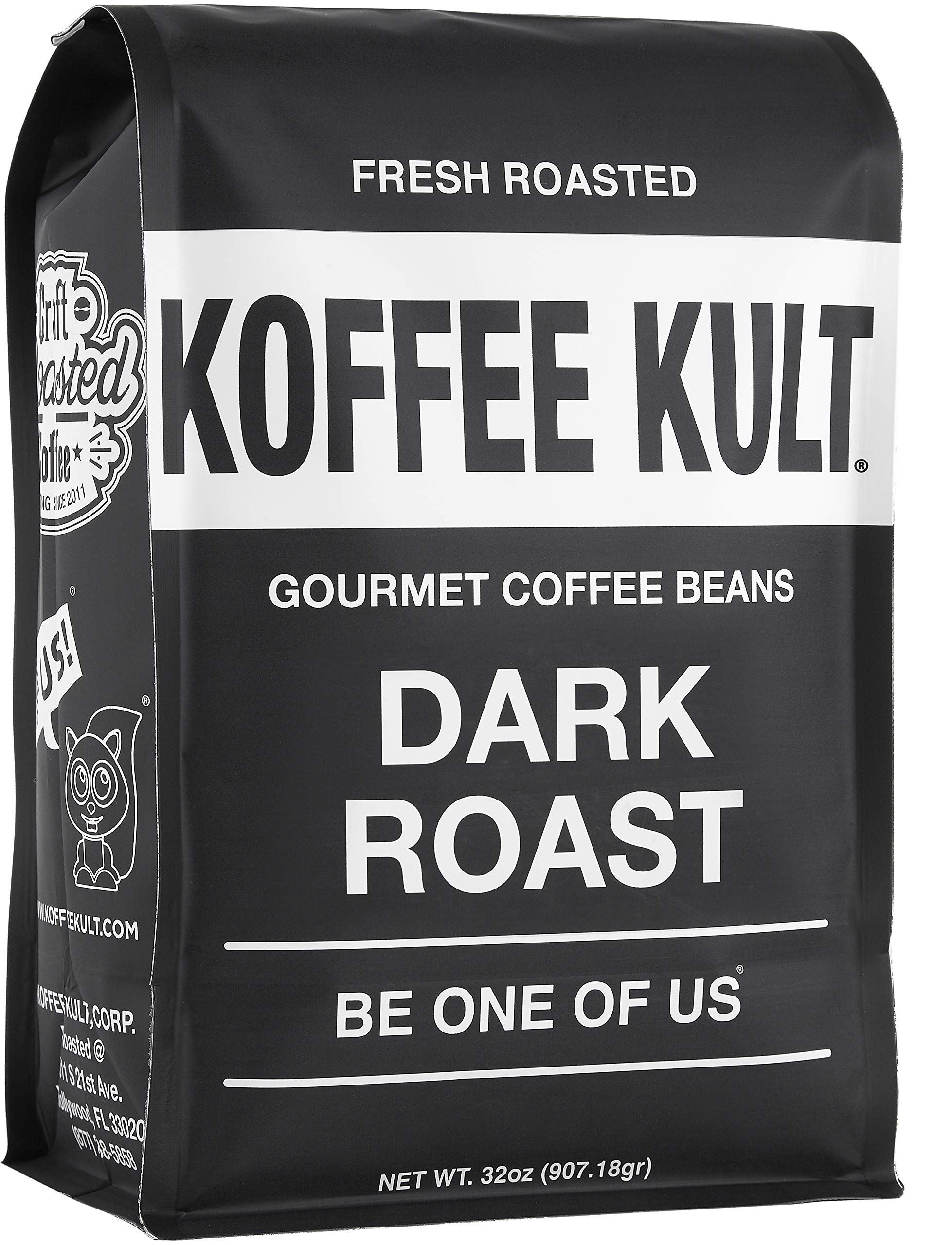 Koffee Kult Dark Roast Coffee Beans - Highest Quality Gourmet - Whole Bean Coffee - Fresh Roasted Coffee Beans, 32oz by Koffee Kult