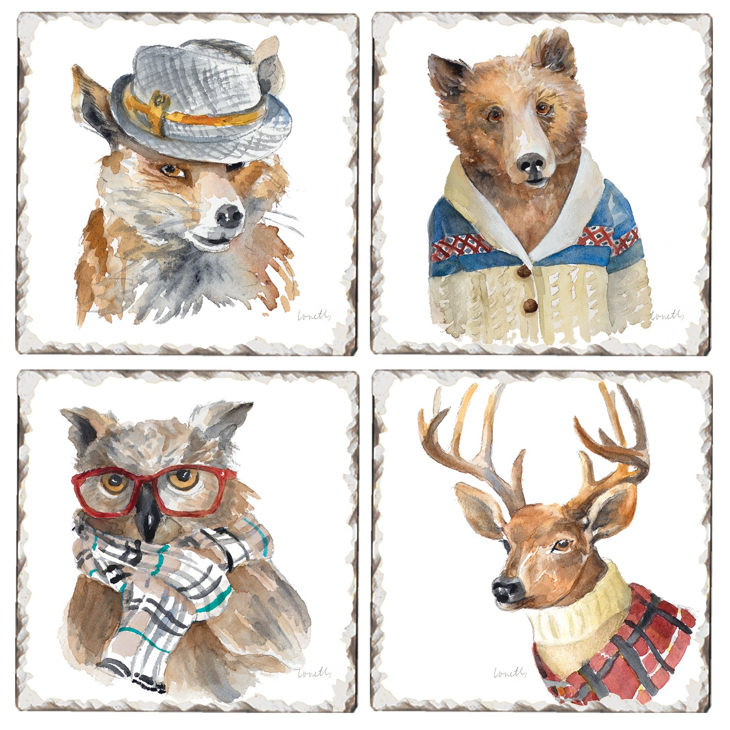 CounterArt Set of 4 Assorted Tumbled Tile Coasters, Well Dressed Animals by CounterArt
