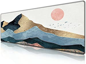 Desk Pad Protector,Mouse Pad with Non-Slip Rubber Base, Premium-Textured & Waterproof Mousepad with Stitched Edges,Large Mouse mats for Computers,Laptop,Gaming,Office & Home,31.5 x 11.8 in,Sunrise