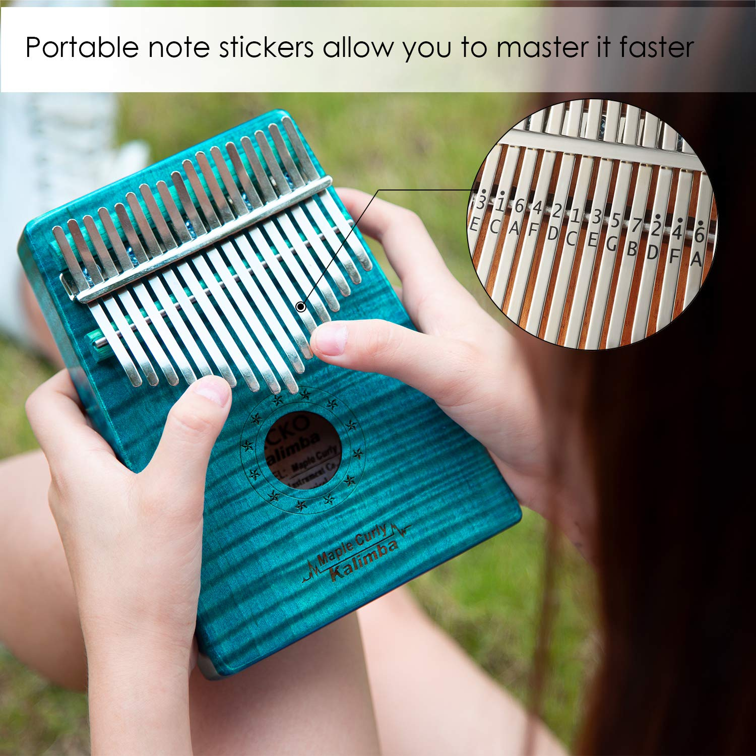 GECKO Kalimba 17 Key Thumb Piano with Hardshell Case Study Instruction Song Book Tuning Hammer for Beginners C Tone Tuned (Blue) by MYTTLELE (Image #2)