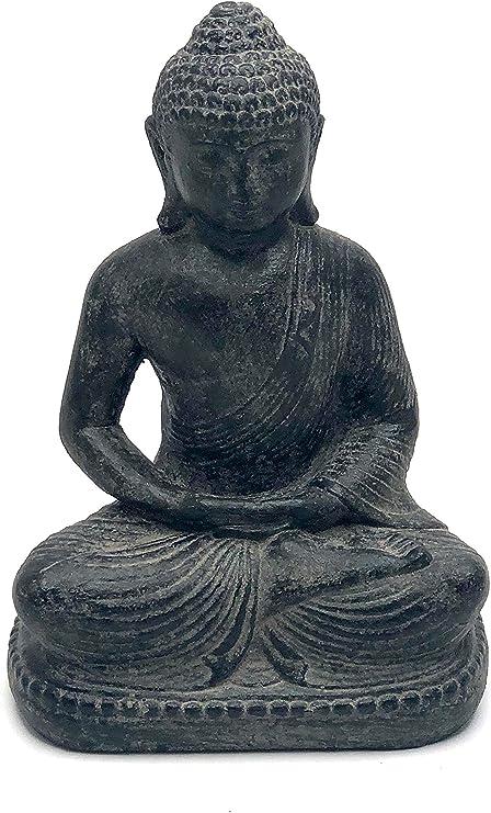 Fahome Estatua de Piedra Decorativa de Buddha, Arena de Lava, Aprox. Escultura de jardín Sentado (20 cm, Hierro Fundido): Amazon.es: Juguetes y juegos
