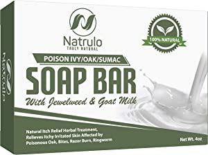 Poison Ivy Soap Bar with Jewelweed - Soothing, Healing Natural Itch Relief Herbal Treatment Home Remedy - Relieves Itchy Irritated Skin Affected by Poison Ivy/Oak/Sumac, Bites, Razor Burn, Ringworm