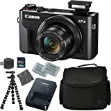 Canon PowerShot G7 X Mark II: Digital Camera + 64GB 4K 1200X SDXC Card + Pro Case + 2X NB-13L + Canon CB-2LH + WS-DC12 Strap + Flexible Tripod + AOM Microfiber Cleaning Cloth: International Version
