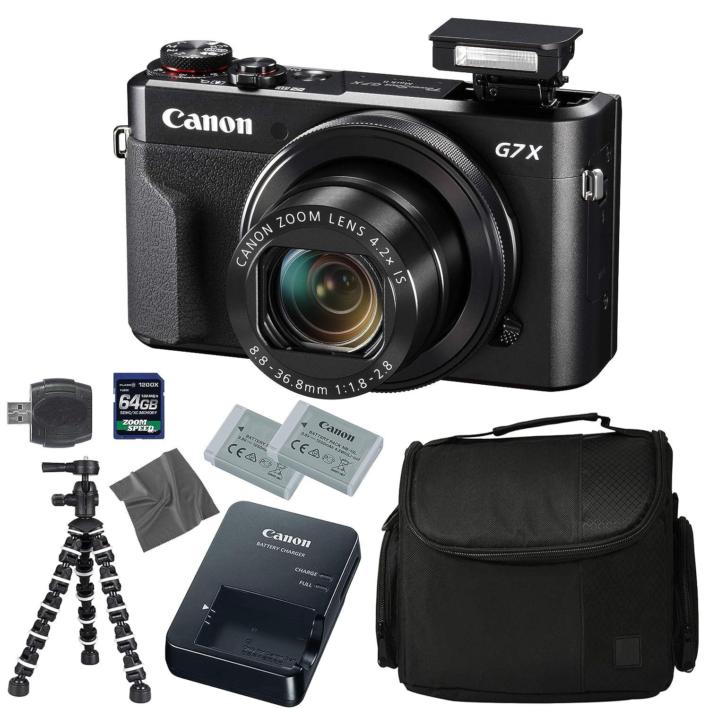 Canon PowerShot G7 X Mark II: Digital Camera   64GB 4K 1200X SDXC Card   Pro Case   2X NB-13L   Canon CB-2LH   WS-DC12 Strap   Flexible Tripod   AOM Microfiber Cleaning Cloth: International Version