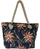 Custom Personalized Floral Print Shopping Tote with Rope Handles
