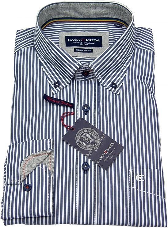 CASA Moda - Camisa de Rayas Azul/Blanco Azul XL: Amazon ...