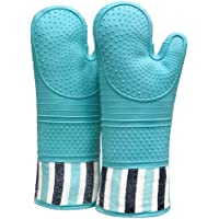RED LMLDETA Heat Resistant 550 Degree Oven mitt, Silicone Oven Hot Mitts - 1 Pair, Extra Long Professional Baking Oven…