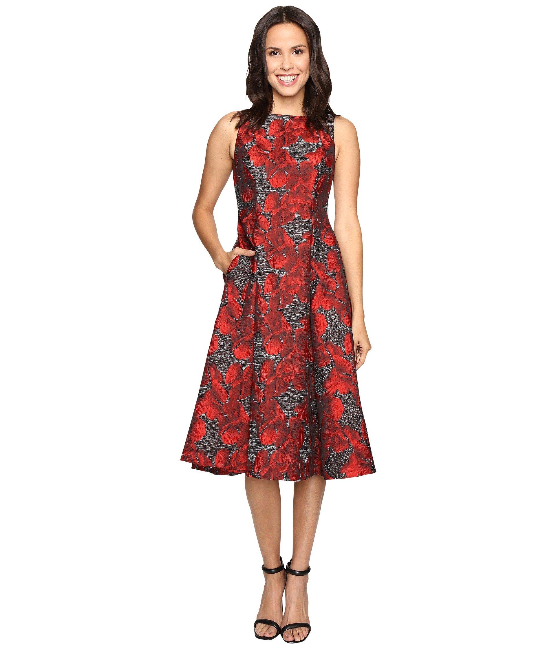 Adrianna Papell Women's Sleeveless Jacquard Tea Length Dress Black/Crimson Dress