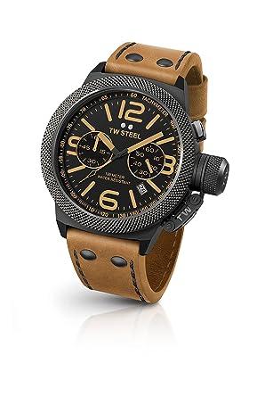 TW Steel Reloj Cronógrafo para Unisex de Cuarzo con Correa en Cuero CS43: Amazon.es: Relojes