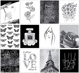 ARTIVO Black and White Wall Art Prints for Wall Decor, 12 Set 8x10 Glam Decor Fashion Poster, Posters for Room Aesthetic, Womens Bedroom Decor, Girls room decor, Wall Collage Kit